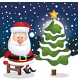 santa claus sit chair with tree snow snowfall vector image