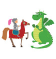 knight on horseback and dragon vector image