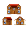 wooden house set isolated on white vector image