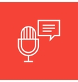 Microphone with speech square line icon vector image