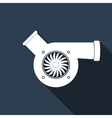 Automotive turbocharger icon with long shadow vector image