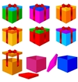 Collection of colorful box christmas gifts with vector image