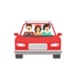 Happy family inside car driving vector image