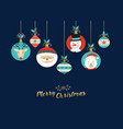 merry christmas cute cartoon animal greeting card vector image