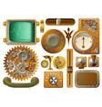 victorian steampunk design elements vector image