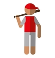 character player baseball with bat red cap vector image
