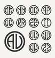 set 2 of templates from two capital letters vector image