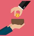 hand giving money to beggar hand vector image