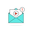 outline video notification in letter vector image