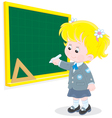 Schoolgirl writes on the blackboard vector image vector image