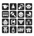 Silhouette Baby and toys icons vector image vector image