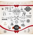 Vintage set of Christmas icons and symbols vector image vector image