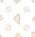 coffee paper cup donut sandwich outline seamless vector image
