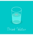 Cute glass with eyes Drink water Infographic vector image