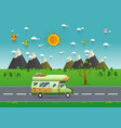 family traveler truck driving on the road vector image
