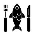 fish dish icon black sign on vector image