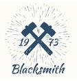 Hammer and vintage sun burst frame Blacksmith vector image