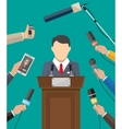 Public speaker and hands of journalists vector image