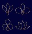 set of flower line art on blue background vector image
