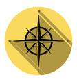 wind rose sign flat black icon with flat vector image