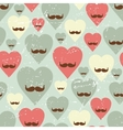 Valentine seamless pattern with heart and mustache vector image