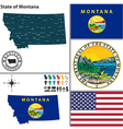 Map of Montana with seal vector image