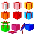 Set of colorful box christmas gifts vector image