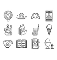 Breakfast line icons set vector image