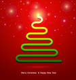 Abstract Christmas tree on red background vector image