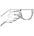 hand with cup vector image