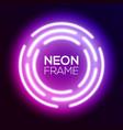 purple gradient neon light frame techno circles vector image