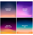 set of four blurred backgrounds sunset and vector image