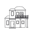 house with balcony roof garden outline vector image