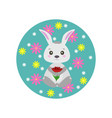 spring rabbit with flowers vector image