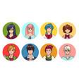 set of cute anime characters avatar cartoon girls vector image