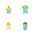 jellyfish collection in hatching style vector image vector image