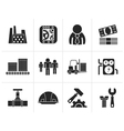 Silhouette Business factory and mill icons vector image vector image