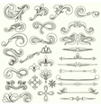 Collection of vintage hand drawn elements vector image
