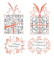 Set decorative ornamental objects boxes frames vector image