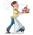 Happy boy with a cake on a white background vector image