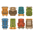 Camping Backpack Set vector image