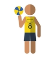 Character player volleyball yellow tshirt vector image