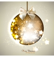 Elegant shiny christmas ball with ribbon Christmas vector image
