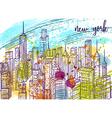 new york city landscape with watercolor splashes vector image