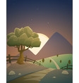 night summer countryside landscape vector image