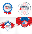 set of american flag design badge vector image