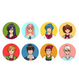 set of cute anime characters avatar cartoon girls vector image