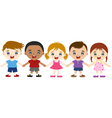 multicultural children hand in hand vector image vector image