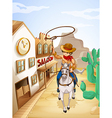A cowboy riding in a horse holding a rope vector image vector image