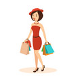 woman makes a major purchase in the mall vector image